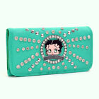 Betty Boop® Rhinestone and Silver Tone Studs Starburst Accent Tri Fold Wallet $19.99 USD on eBay
