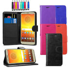 "Leather Flip Wallet Case Pouch Cover For Motorola Moto E5 5.7"" + Screen + Stylus"