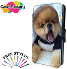 Cute Pomeranian Puppy Dog - Leather Flip Wallet Phone Case Cover