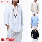 Summer Men Cotton Linen Pullover Tops Tee 3/4 Sleeve V Neck Casual Loose T Shirt image