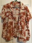 SET JAMACA BAY WASHABLE LINEN ORANGE/TAN BUTTON SS BLOUSE WITH BRA TANK-SZ L