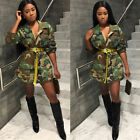Women Fashion Camouflage Printed Long-Sleeve buttons pocket Coat Jacket Outwear
