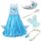 Girls Elsa Frozen Dress Xmas costume Princess Anna Party Dresses Cosplay Clothes