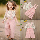 US Boutique Kids Baby Girl Floral Tops Bib Strap Overalls Pants Outfits Clothes