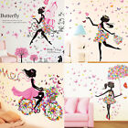Diy Wall Stickers Flowers Girl Bedroom Mural Decor Nursery Removable Decals Uk
