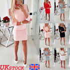 Uk Womens Ladies Cold Shoulder Long Sleeve Lace Bodycon Party Midi Dress Size