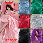 Ice Silk Soft Satin King Queen Twin Size Quilt Cover Set Bed Sheets Bedspreads image