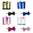 Pet Birthday Crown Hat and Bow Tie Set for Puppy Dog Doggy Cat Party Costume Kit