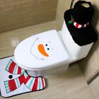 New Xmas Santa Toilet Seat Cover Rug Bathroom Soft Mat Cloth Decoration Gift