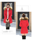 Women's long slim fit large fur collar cotton-padded quilted winter jacket
