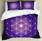 Dark Blue Duvet Cover Set with Pillow Shams Flower of Life Stars Print image