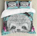 Sloth Duvet Cover Set with Pillow Shams DJ Sloth Headphones Print image