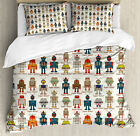 Kids Duvet Cover Set with Pillow Shams Super Robot Figures Print image