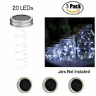 3 Packs Solar Mason Jar Lid Lights 20 LED Fairy String Lights Garden Decor Lamp