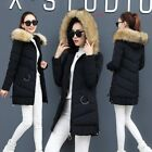Women's fashion large fur collar slim fit hooded thicken long winter coat jacket