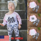 Toddle Baby Girl Clothes Big Sister Letter T-shirt Tops+Cookies Pants Outfit Set