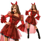 Womens Sexy Red Hot Devil Fancy Dress Costume incl Horns Great Halloween Outfit