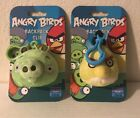 Angry Birds 2-LOT Yellow Bird & Green Pig Backpack Clips Keychains **NEW**