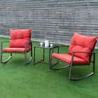 3pc/set Rattan Wicker Rocking Chairs Table W/cushion Garden Furniture Outdoor Us