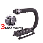 Video Camera Stabilizer Shoe Mount Handle Grip Rig Triple 3 Mounts,