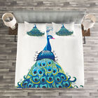 Peacock Quilted Bedspread & Pillow Shams Set, Classical Floral Artful Print image