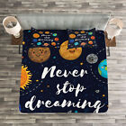 Quote Quilted Bedspread & Pillow Shams Set, Outer Space Star Cluster Print image