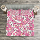 Anime Quilted Bedspread & Pillow Shams Set, Cute Rabbits Kids Humor Print image