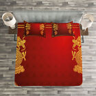 Dragon Quilted Bedspread & Pillow Shams Set, Historic Asian Creature Print image