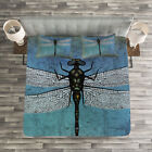 Grunge Quilted Bedspread & Pillow Shams Set, Dragonfly Bug Turquoise Print image