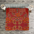 Red Mandala Quilted Bedspread & Pillow Shams Set, Persian Paisley Print image