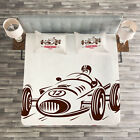 Cars Quilted Bedspread & Pillow Shams Set, Retro Race Car...