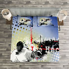 Hockey Quilted Bedspread & Pillow Shams Set, Player Snow Cityscape Print image