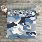 Camouflage Quilted Bedspread & Pillow Shams Set, Soft Colors Design Print