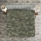Camouflage Quilted Bedspread & Pillow Shams Set, Dark Forest Conceal Print