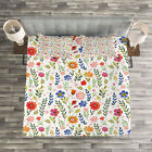 Watercolor Quilted Bedspread & Pillow Shams Set, Floral Illustration Print image