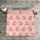 Dog Lover Quilted Bedspread & Pillow Shams Set, Cute Little Corgis Print image