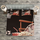 Movie Theater Quilted Bedspread & Pillow Shams Set, Film Industry Print image