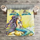 Mermaid Quilted Bedspread & Pillow Shams Set, Fantasy Woman on Rock Print image