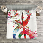 Music Quilted Bedspread & Pillow Shams Set, Notes Rhythm Artwork Print image