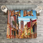Italy Quilted Bedspread & Pillow Shams Set, Venice Canal Cityscape Print image