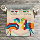 Flamingo Quilted Bedspread & Pillow Shams Set, Valentines Funky Birds Print