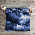 Ocean Quilted Bedspread & Pillow Shams Set, Rain Clouds Storm Rays Print image