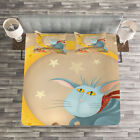 Kids Quilted Bedspread & Pillow Shams Set, Cat Mouse Crescent Moon Print image