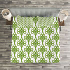 Irish Quilted Bedspread & Pillow Shams Set, Entangled Clover Leaves Print image