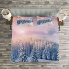Mountain Quilted Bedspread & Pillow Shams Set, Idyllic Winter Morning Print image