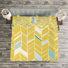 Yellow Chevron Quilted Bedspread & Pillow Shams Set, Herr...