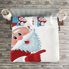 Christmas Quilted Bedspread & Pillow Shams Set, Winter Snow Season Santa Print image
