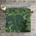 Forest Green Quilted Bedspread & Pillow Shams Set, Camo Palm Leaves Print