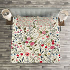 Floral Quilted Bedspread & Pillow Shams Set, Birds Roses Polka Dots Print