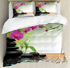 Spa Duvet Cover Set with Pillow Shams Bamboo Tree Orchid Stones Print